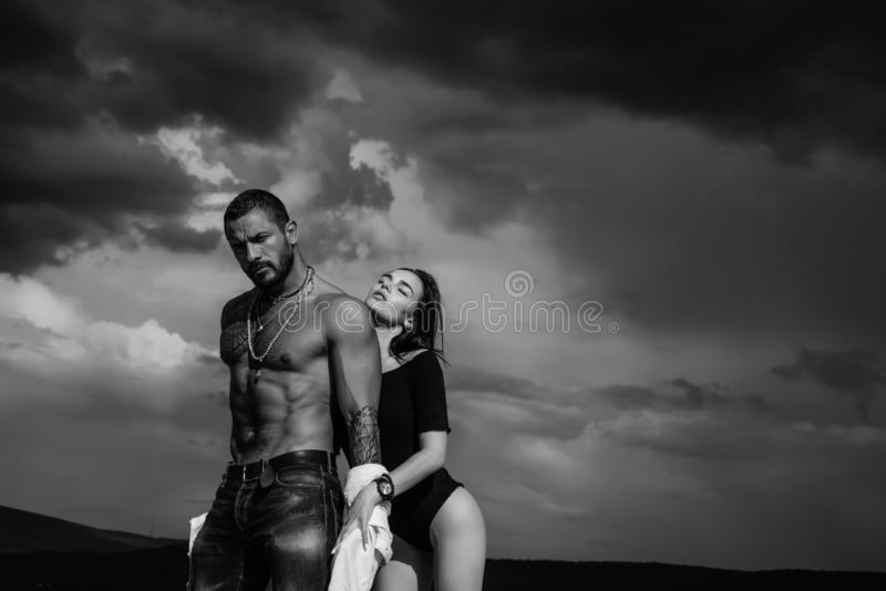 Sensual couple. Passion and sensual touch. Romantic and love. Intimate relationship and sexual relations. Dominant man. I Love You. Couple In Love in sky royalty free stock photography