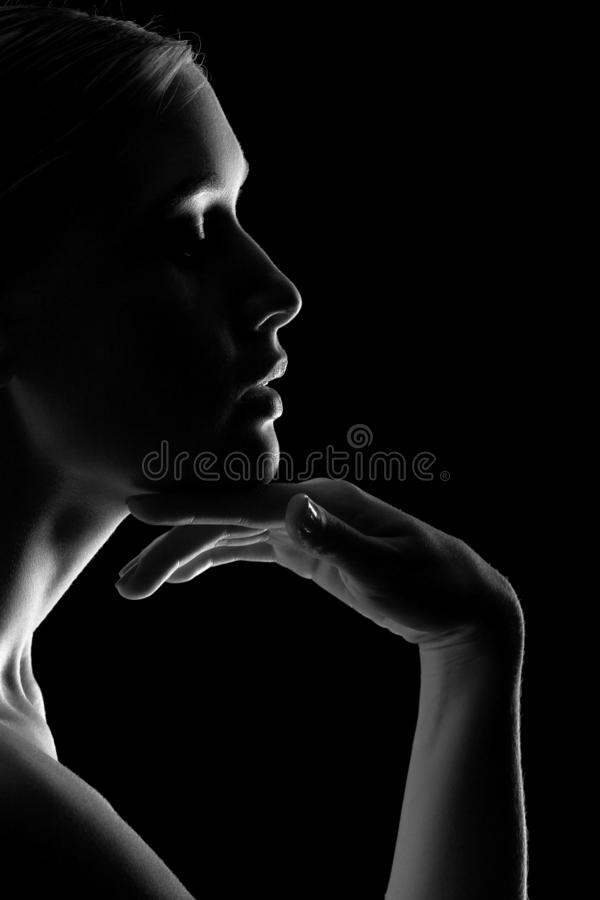 Sensual female profile royalty free stock photos