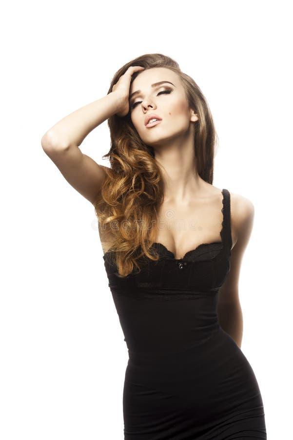 Sensual girl with long hair stock photos
