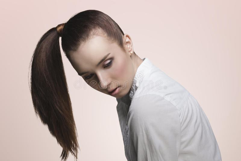 Sensual girl with ponytail stock photo