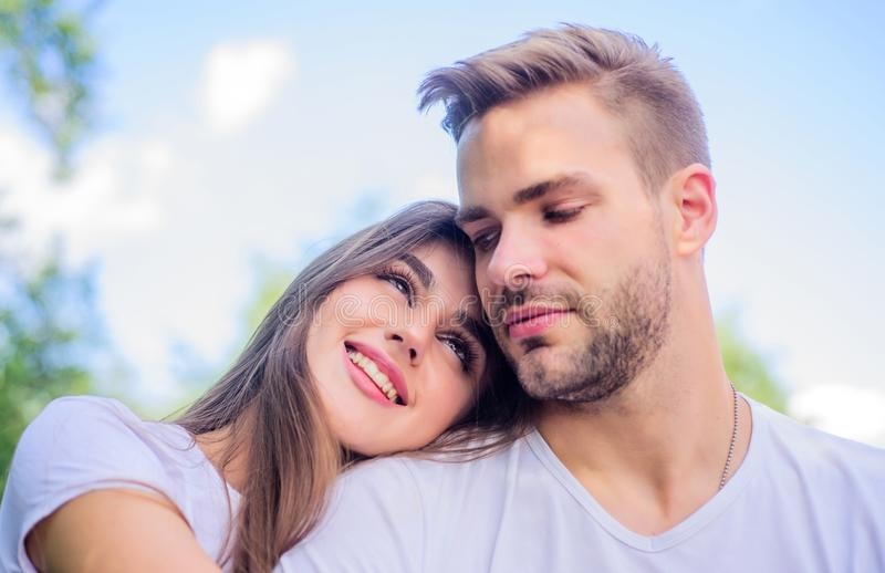 Sensual hug. Love romance concept. Romantic date. Handsome man pretty girl in love. Sexual attraction. Attractive couple royalty free stock image