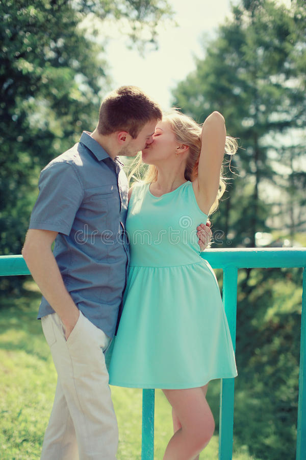 Sensual kiss, couple in love enjoying. Each other in city royalty free stock photo