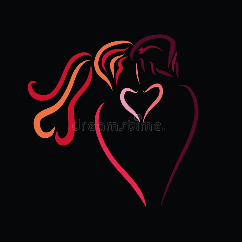 Sensual kiss of a loving couple on a black background, creative stock illustration