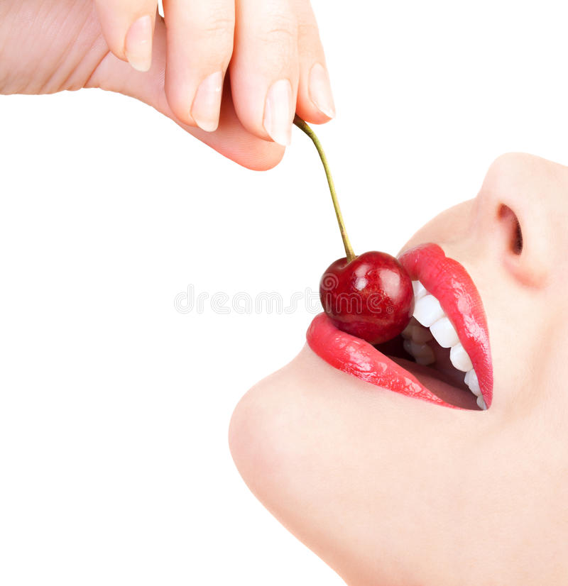 Download Sensual lips with a cherry stock photo. Image of flirt - 21198428