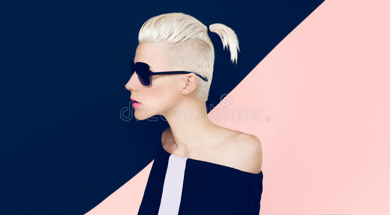 Sensual Model with fashionable Hairstyle. Blonde Hair trend royalty free stock image
