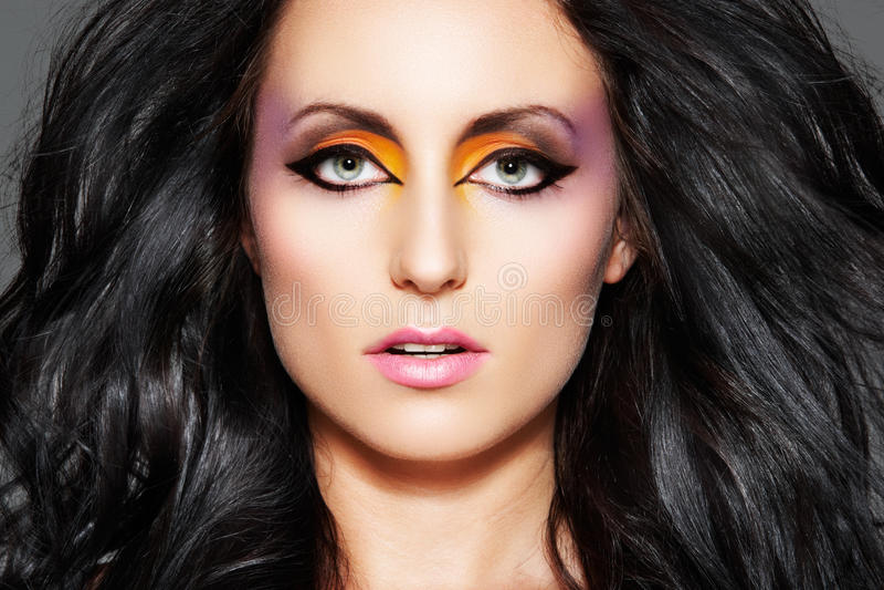 Download Sensual Model. Oriental Make-up & Long Volume Hair Stock Photos - Image: 15472443