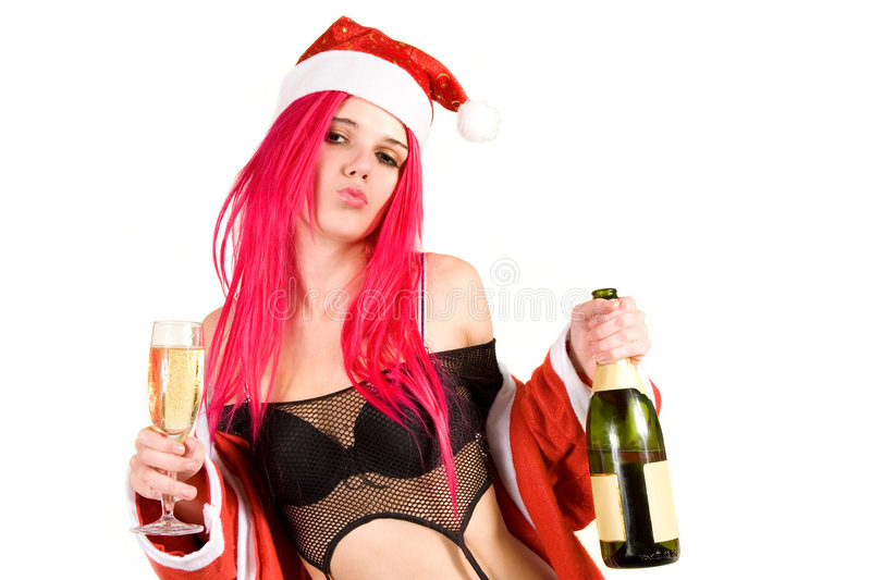 Download Sensual Mrs. Santa With Champagne Glass And Bottle Stock Photo - Image of female, clothes: 7288264