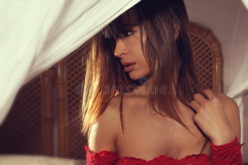Sensual mysterious young woman portrait . royalty free stock photo