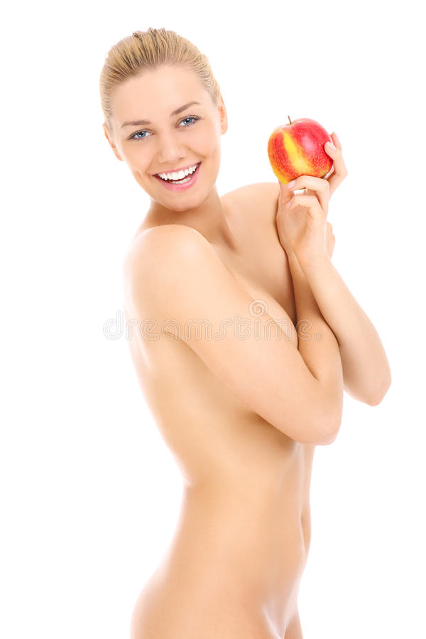 Download Sensual Naked Woman And Apple Stock Image - Image of attractive, isolated: 39504327