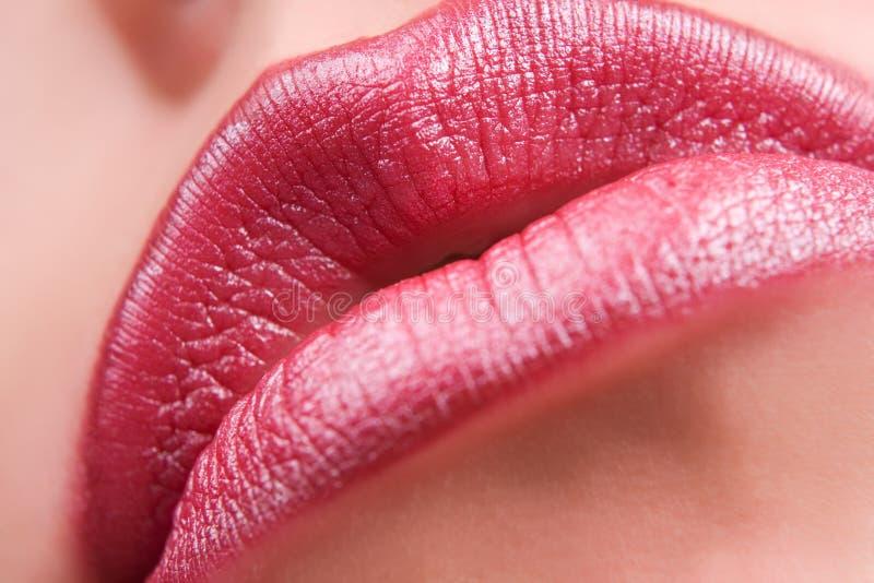Sensual red lips stock photos
