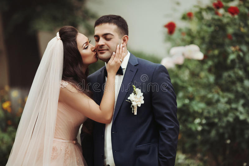 Sensual, romantic bride kissing handsome groom on his cheek with royalty free stock image
