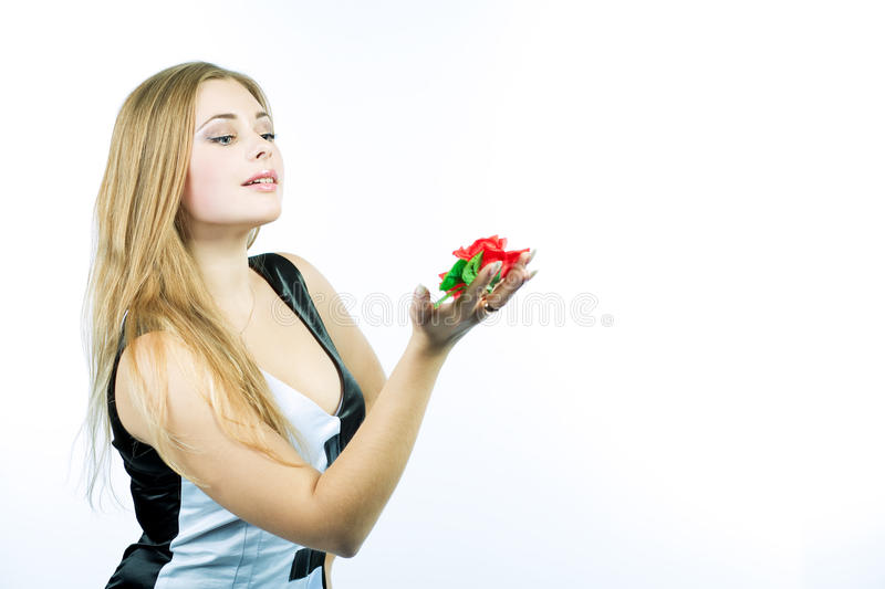 Sensual Blond Girl With Gentle Fower Royalty Free Stock Photos