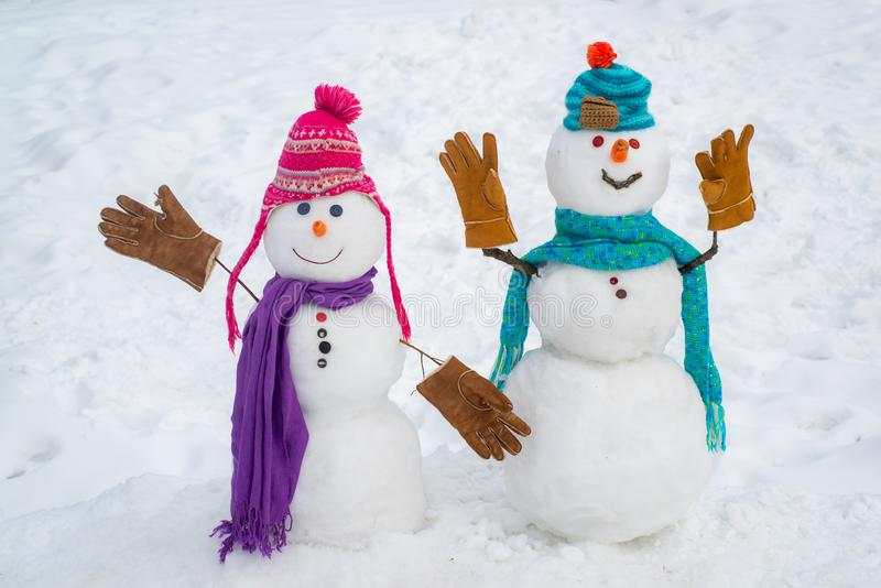Sensual snowman couple enjoying intimacy. Funny Laughing Surprised snowman Portrait. Winter Love story. Funny snowmen stock images