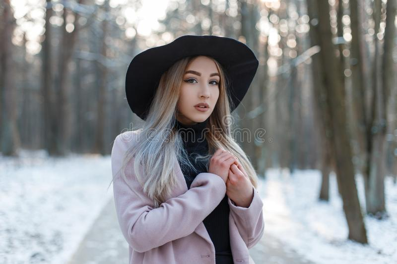 Sensual stylish beautiful young woman in a knitted vintage dress in a stylish black hat in a pink elegant coat. Posing in a snowy forest on a background of stock photo
