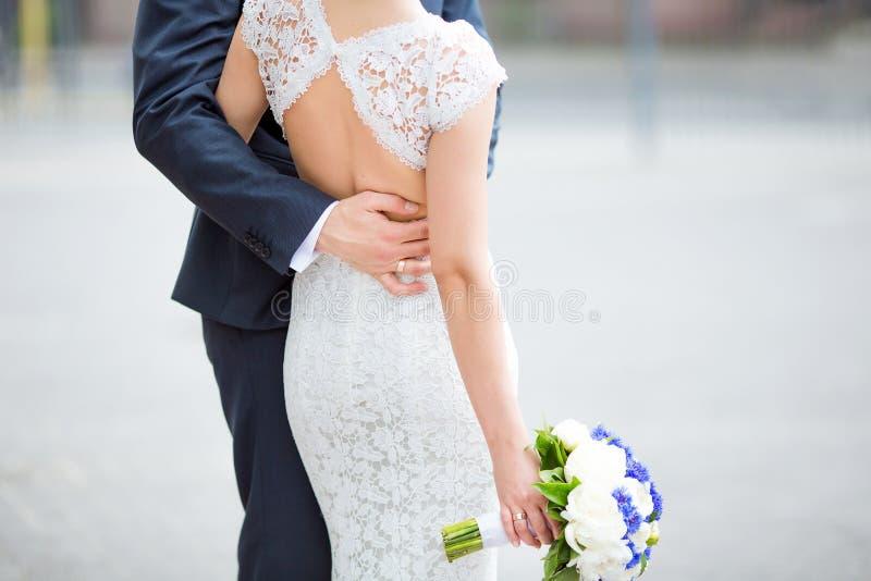 Sensual wedding couple royalty free stock photos