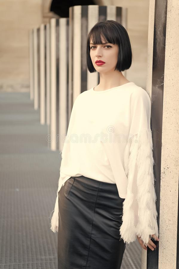 Sensual woman with brunette hair. Woman with red lips makeup in paris, france. Beauty girl with glamour look. Fashion royalty free stock photos
