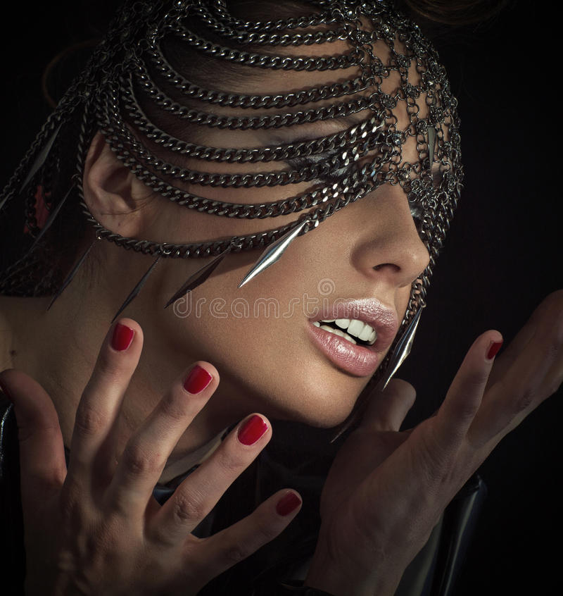 Download Sensual Woman With Chain Mask Stock Image - Image: 38845431