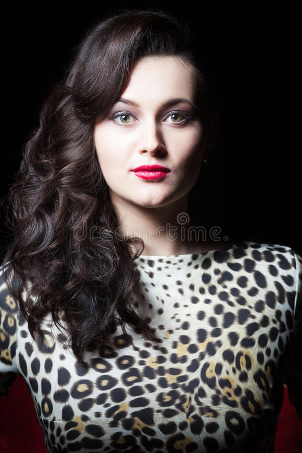 Sensual woman in the dress with leopard print. Portrait of a sensual woman in the dress with leopard prints on black stock photos