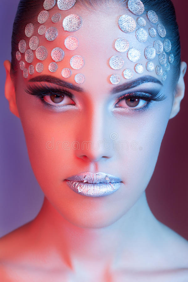 Free Sensual Woman Fashion Make Up Blue And Red Colors Royalty Free Stock Photo - 41198325