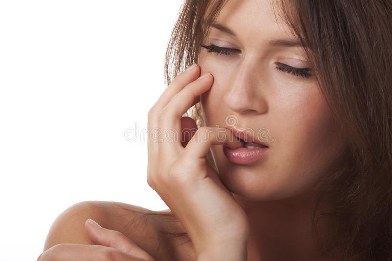 A sensual woman with a hand around a person royalty free stock photo