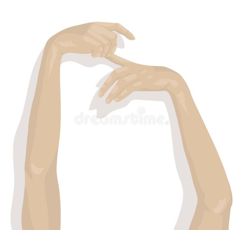 Sensual woman hands and arms as illustration. Part of woman body royalty free illustration