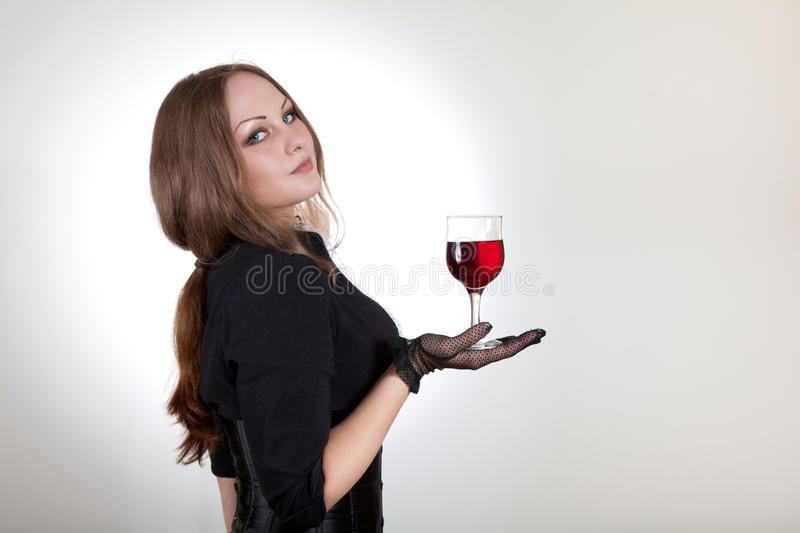 Download Sensual Woman Holding Glass Of Wine Stock Image - Image: 15390125