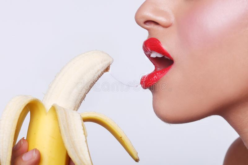 Download Sensual Woman Preparing To Eat A Banana Stock Image - Image: 32544687