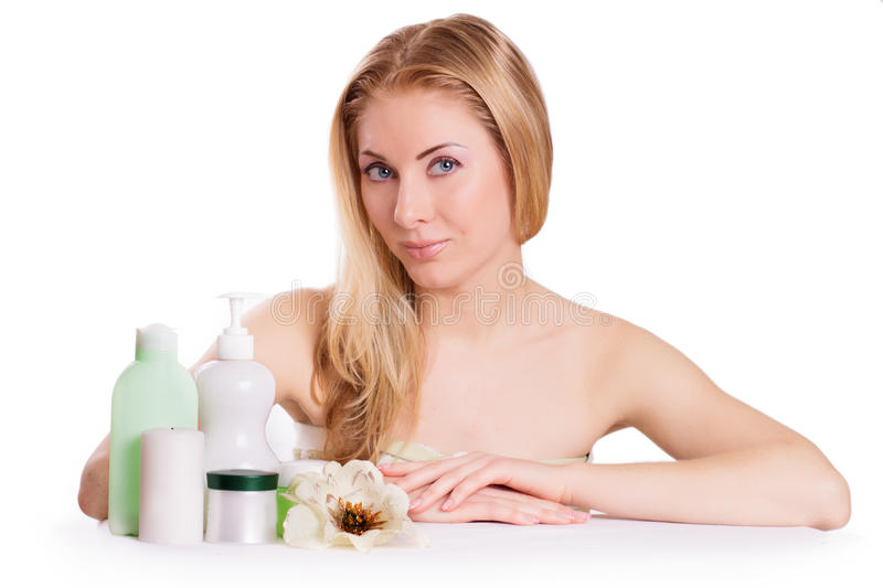 Download Sensual Woman With Skincare Products Stock Image - Image: 29286397