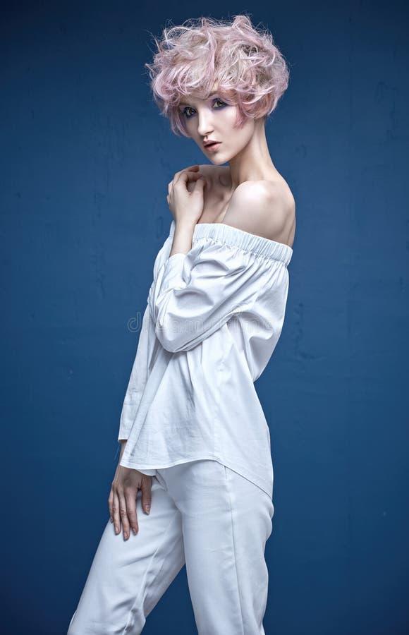 Sensual woman with a stylish haircut stock photos