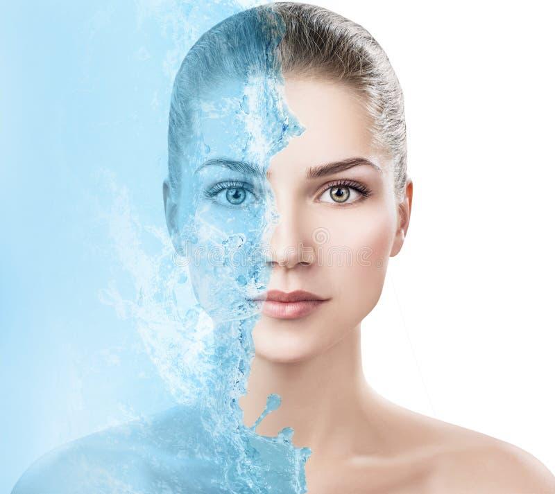 Sensual woman under water splash with fresh skin. royalty free stock photo