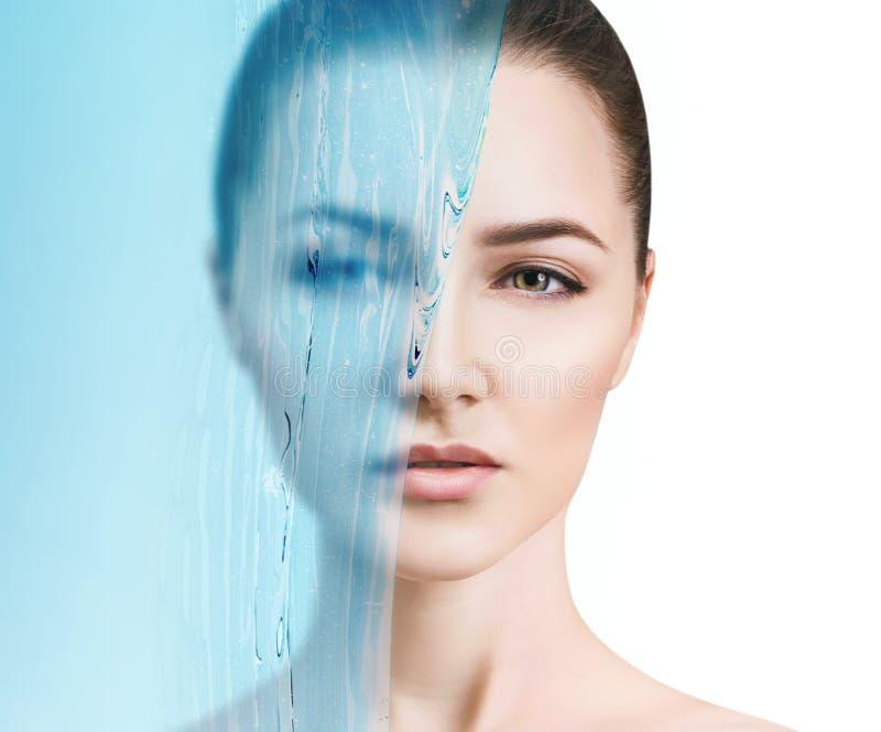 Sensual woman under water splash with fresh skin. stock images