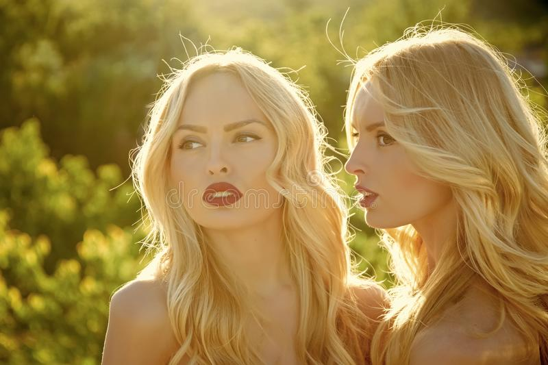 Sensual woman body. Twins in summer sunny weather. royalty free stock image