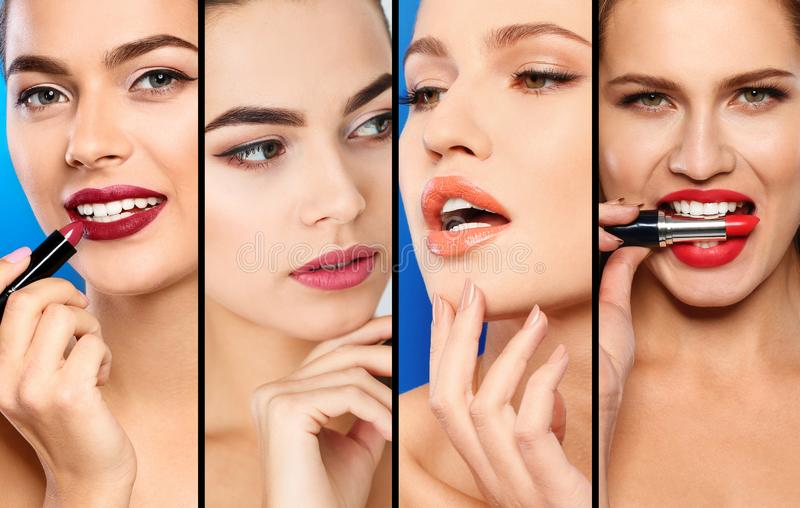 Sensual women with different color lipsticks, closeup. royalty free stock photos