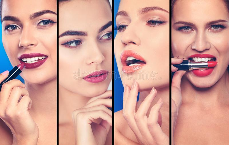 Sensual women with different color lipsticks, closeup. stock images