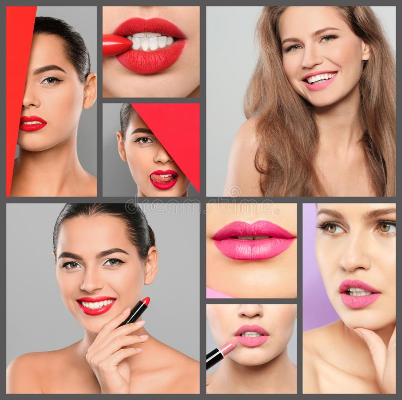 Sensual women with different color lipsticks. royalty free stock images