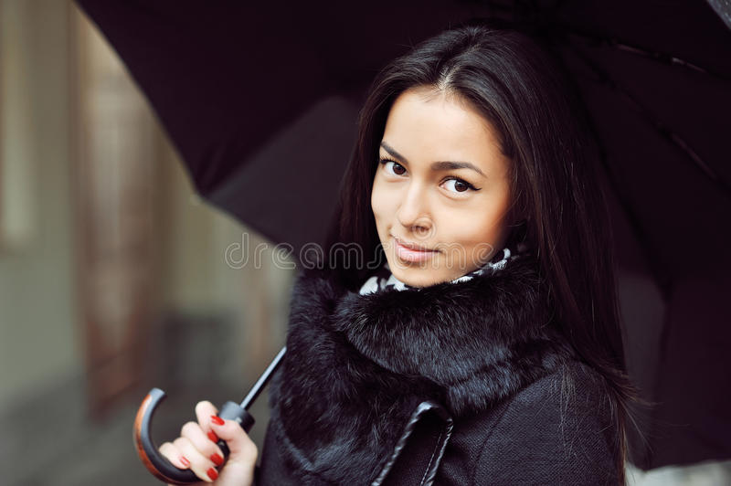 Download Sensual Young Girl Portrait With Umbrella In A Rainy Weather Stock Photo - Image: 40651922