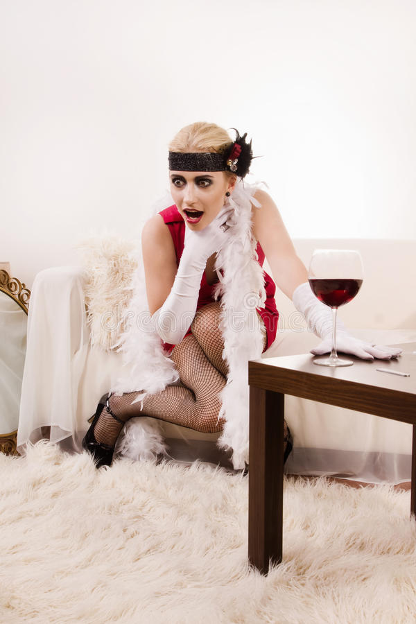 Download Sensual Young Lady In Red Choking Stock Image - Image: 20650479
