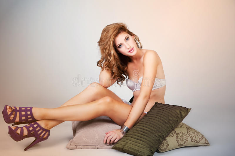 Sensual Young Woman In Lingerie And High Heels Stock Photo