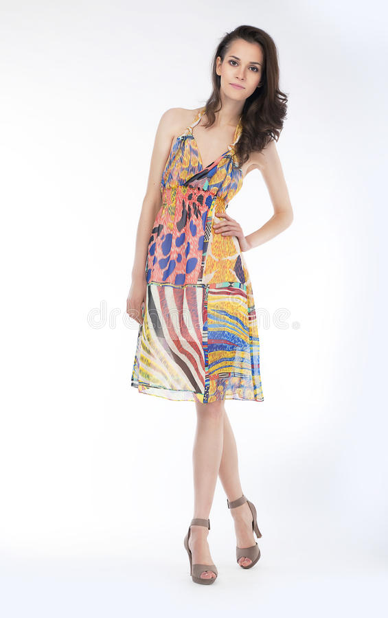 Download Sensual Young Woman In Trendy Dress Posing Stock Image - Image: 24884239