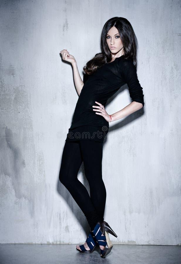Sensualiteit mooie vrouw met het lange haar stellen in studio royalty-vrije stock afbeelding