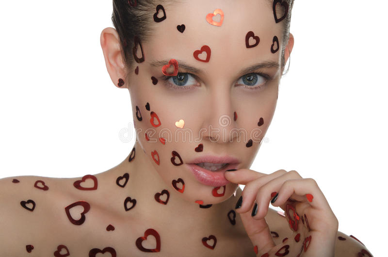 Sensuality Beautiful Woman With Heart On Face Stock Photo