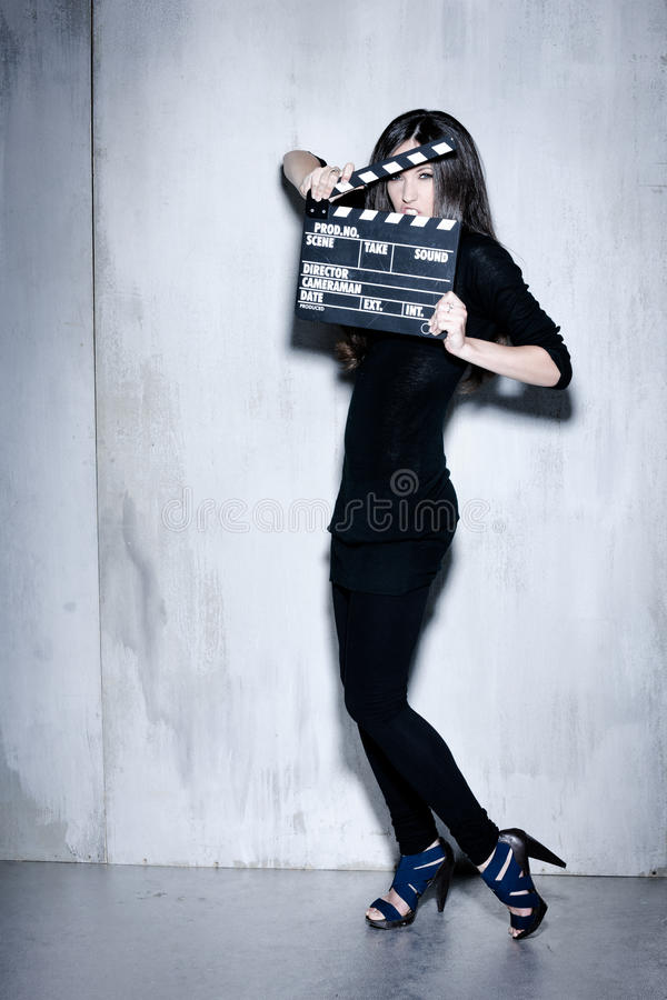 Download Sensuality Beautiful Woman With Long Hairholding Clapperboard Royalty Free Stock Photos - Image: 32539308