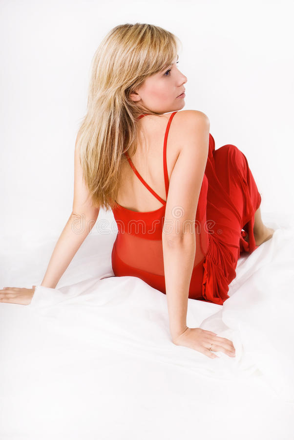 Download Sensuality Blonde Woman In Red Stock Photo - Image: 19213658