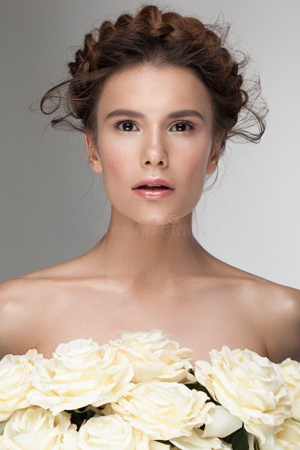 Sensueel schoonheidsportret van wit Kaukasisch model royalty-vrije stock foto