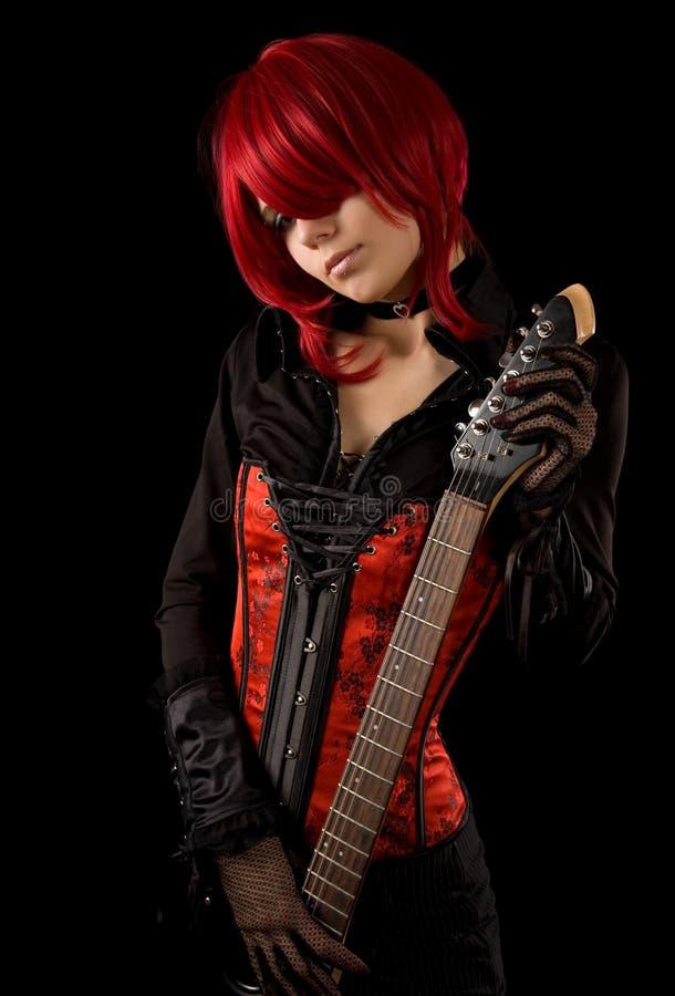 Sensuele gitaarspeler royalty-vrije stock afbeeldingen
