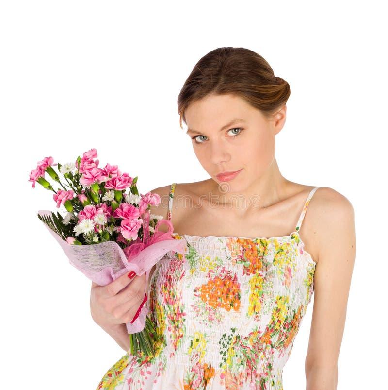 Sensuele Jonge Vrouw met Bloemen royalty-vrije stock fotografie
