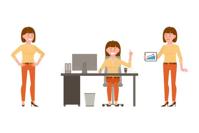 Sentándose en el escritorio, colocándose con la tableta, señalando el juego de caracteres de la muchacha del finger Feliz, sonrie libre illustration