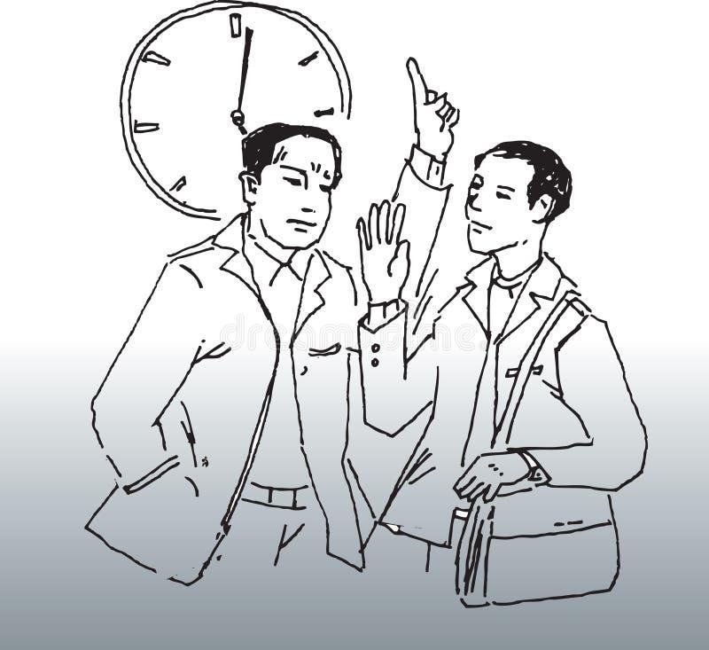 sent arbete stock illustrationer