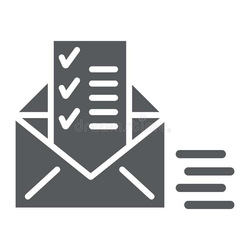 Sent document glyph icon, email and mail, envelope with list sign, vector graphics, a solid pattern on a white. Background, eps 10 royalty free illustration