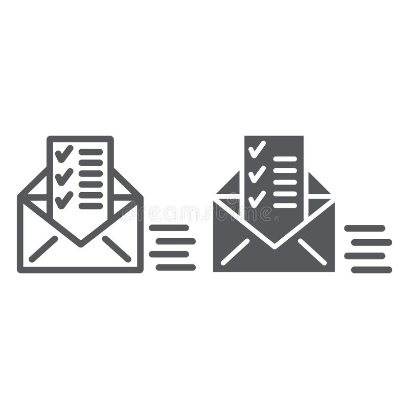 Sent document line and glyph icon, email and mail, envelope with list sign, vector graphics, a linear pattern on a white. Background, eps 10 vector illustration